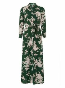 Womens Petite Green Floral Maxi Dress- Green, Green