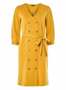 Womens Yellow Ponte Shirt Dress- Orange, Orange