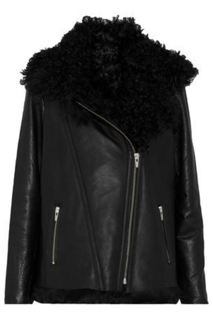 Veda Woman Denver Shearling-lined Leather Biker Jacket Black Size L