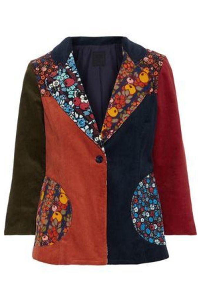 Anna Sui Woman Patchwork Cotton-corduroy Jacket Multicolor Size 10