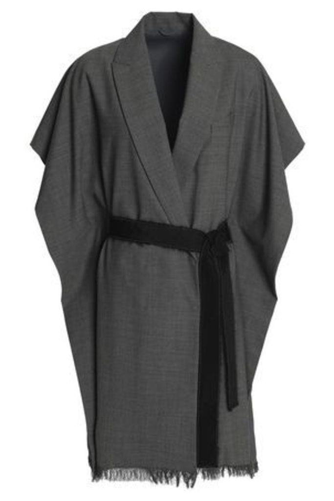 Brunello Cucinelli Woman Draped Belted Wool-blend Jacket Anthracite Size 42
