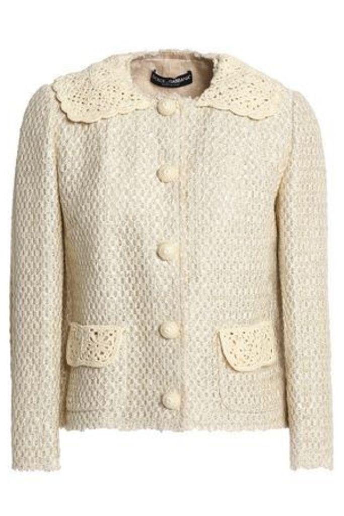 Dolce & Gabbana Woman Crochet-trimmed Jacquard Jacket Ivory Size 40