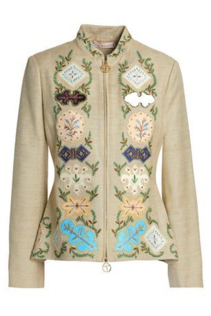 Tory Burch Woman Appliquéd Embroidered Silk-canvas Peplum Jacket Sand Size 2