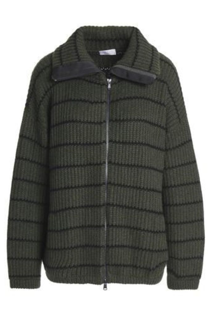 Brunello Cucinelli Woman Striped Ribbed Cashmere Jacket Army Green Size L