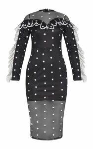 Black Polka Dot Mesh Scalloped Trim Detail Midi Dress, Black