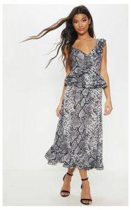 Grey Snake Print Frill Detail Floaty Midaxi Dress, Grey