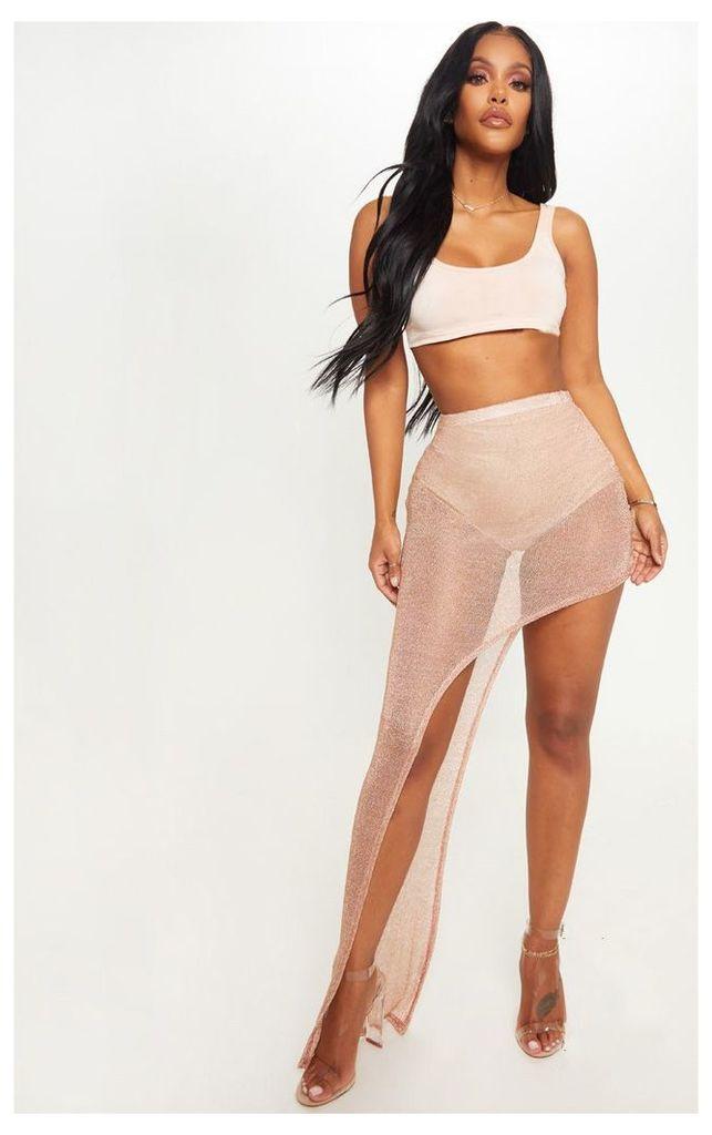 Shape Rose Gold Sheer Knitted Asymmetric Maxi Skirt, Pink