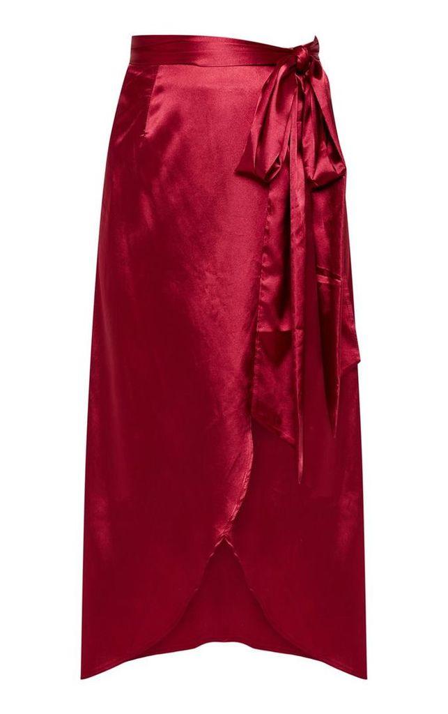 Petite Burgundy Satin Wrap Midi Skirt, Red