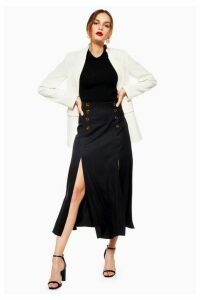 Womens Split Button Midi Skirt - Black, Black