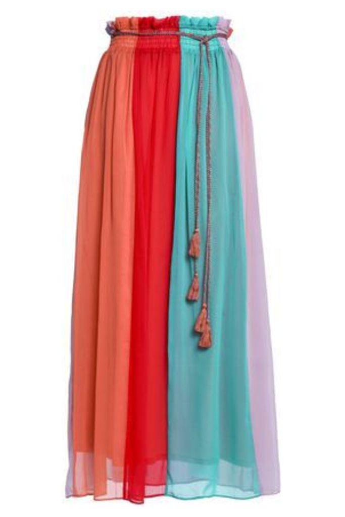 Antik Batik Woman Tasseled Color-block Chiffon Maxi Skirt Multicolor Size 40