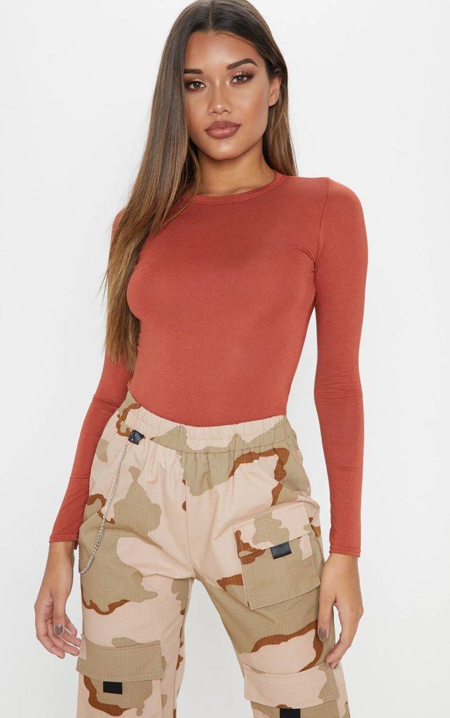 Basic Burnt Orange Long Sleeve Fitted T Shirt, Orange