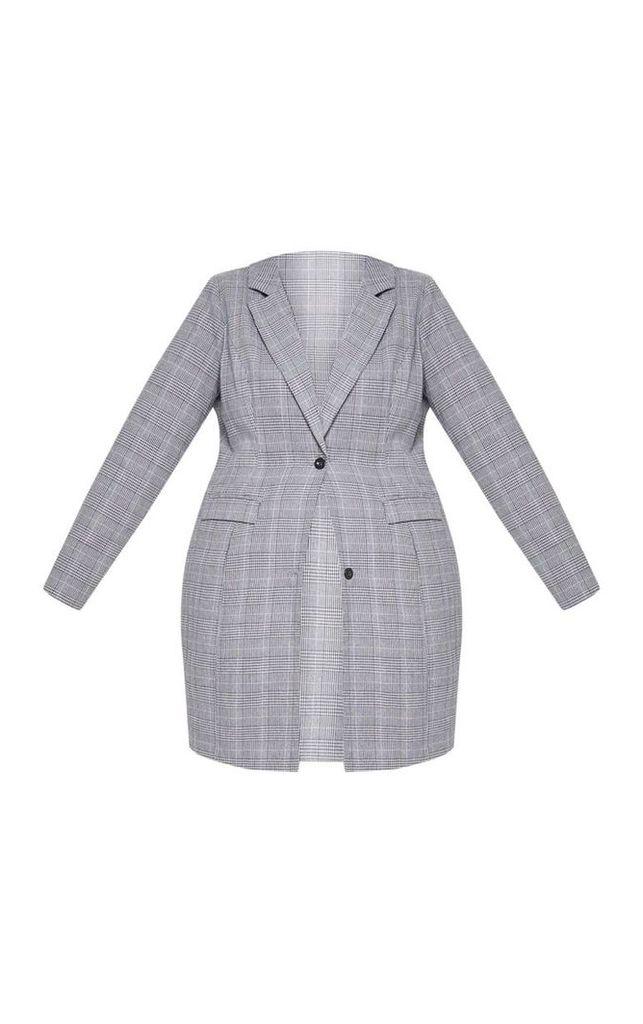 Plus Grey Check Longline Jacket, Grey
