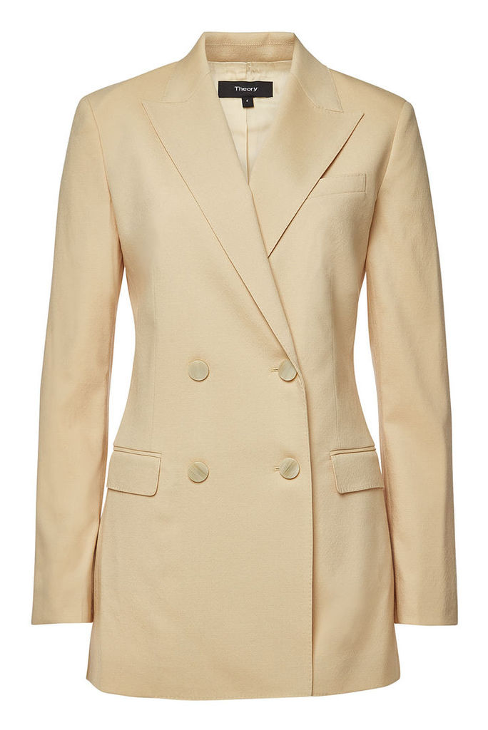 Theory Virgin Wool Double Breasted Blazer
