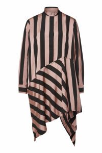 Marques' Almeida Striped Asymmetric Mini Dress with Silk