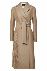 Proenza Schouler Embroidered Belted Coat with Wool and Cotton