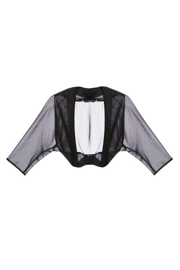Quiz Black Chiffon Crop Jacket