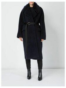 Blancha shearling trim coat - Blue