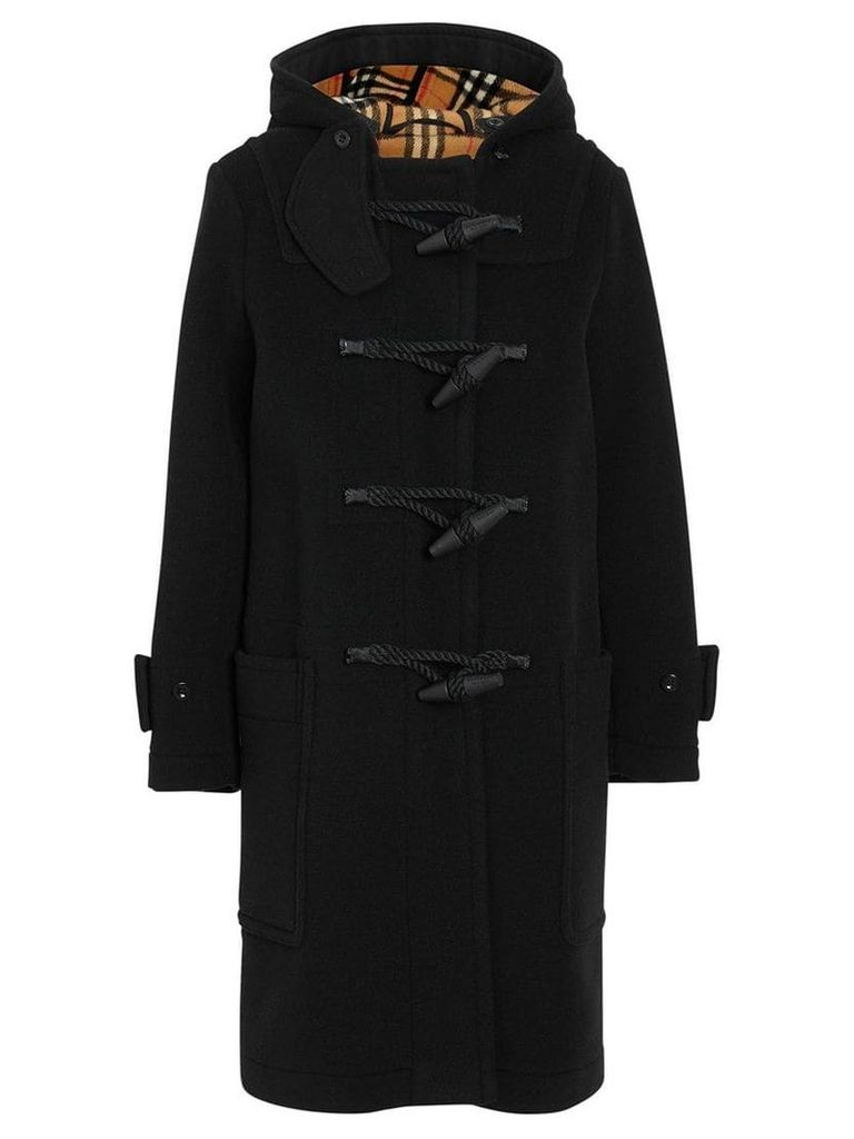 Burberry Wool Blend Duffle Coat - Black