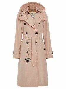 Burberry Detachable Hood Taffeta Trench Coat - Pink