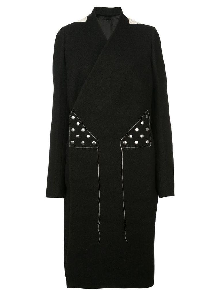 Rick Owens open back wrap-around coat - Black