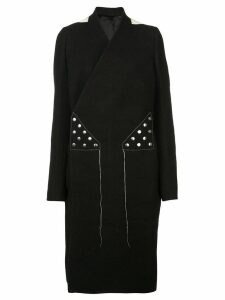 Rick Owens open back wrap-around coat - Black