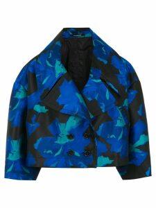 À La Garçonne floral jacquard cropped coat - Blue