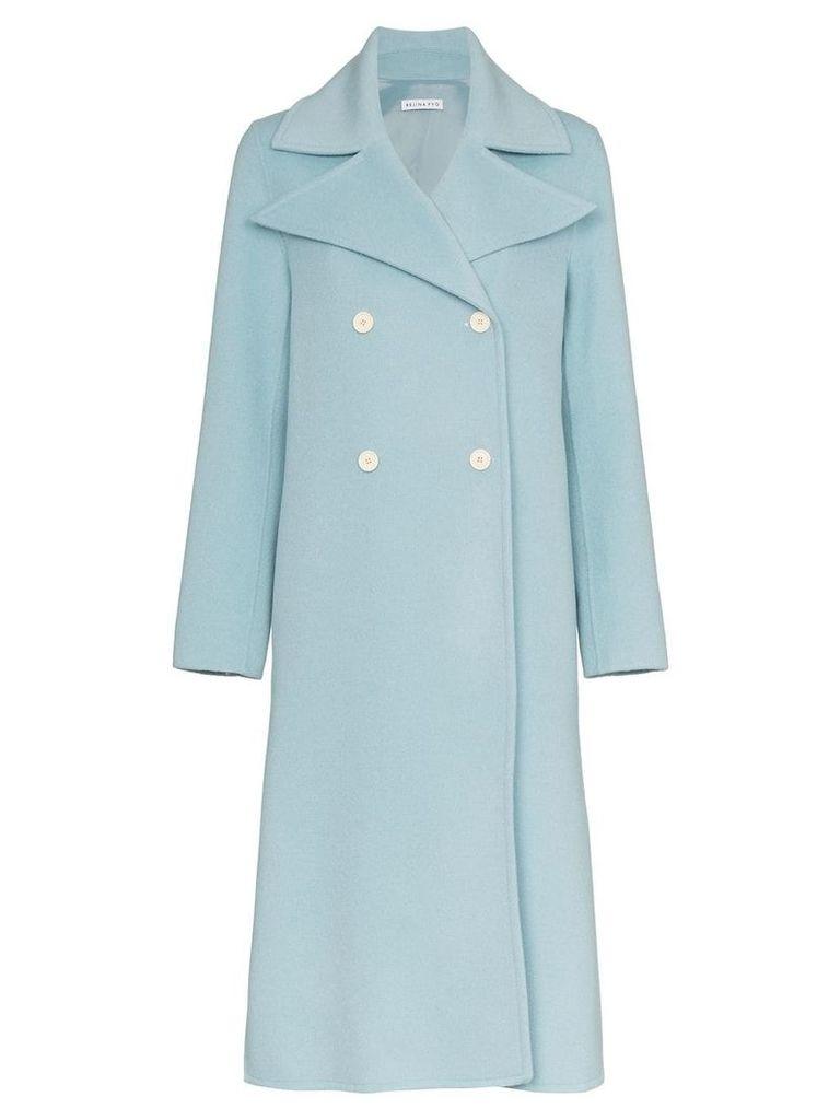 Rejina Pyo Double-Breasted Long Coat - Blue