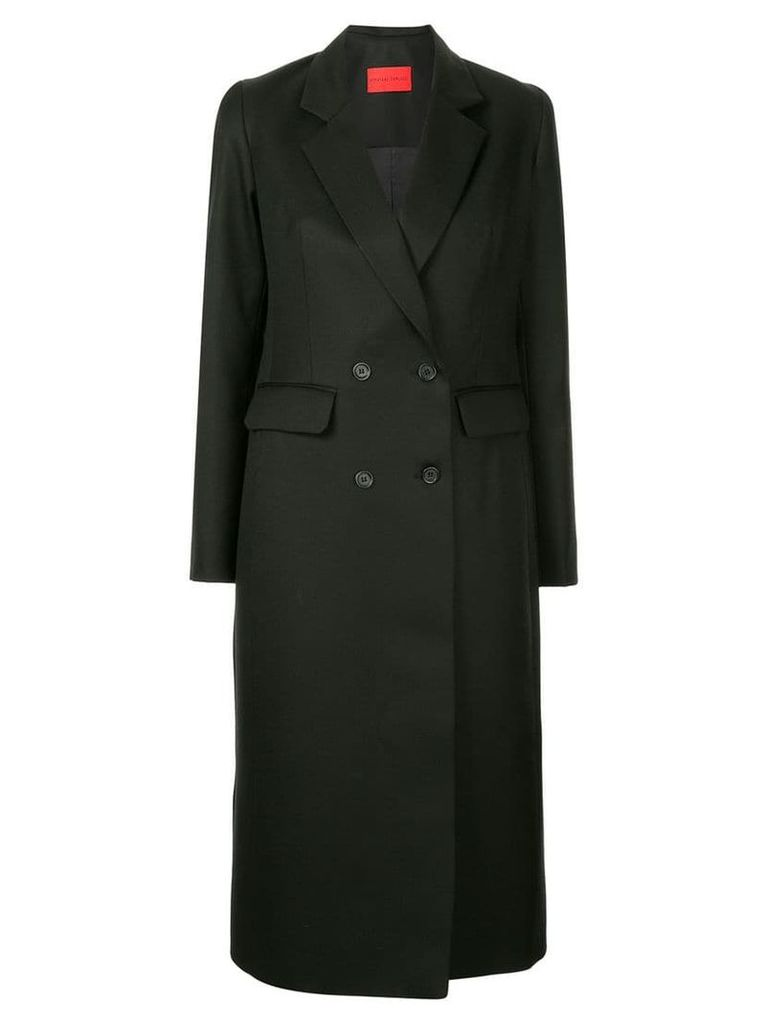Strateas Carlucci double-breasted mid-lenght coat - Black