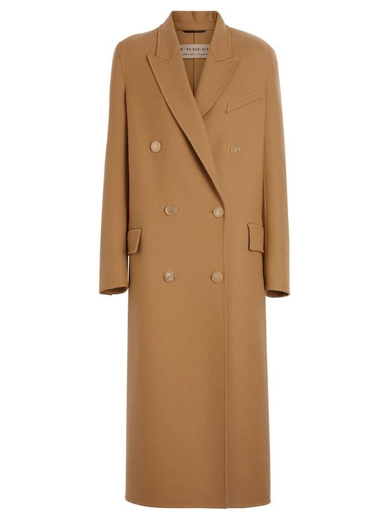 Burberry Double-breasted Wool Tailored Coat - Brown