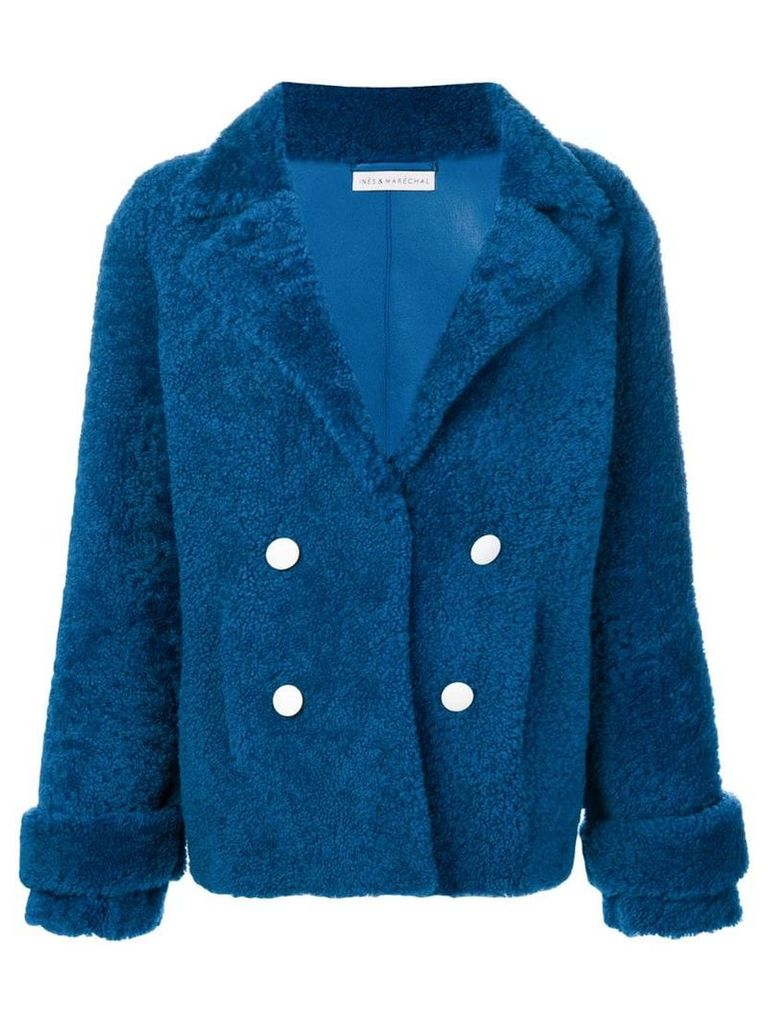 Inès & Maréchal double-breasted shearling coat - Blue