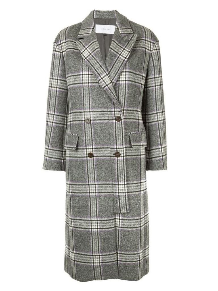 Le Ciel Bleu checked double breasted coat - Grey