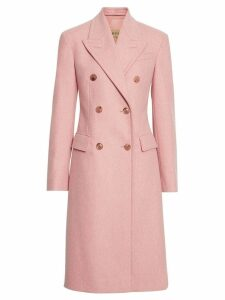 Burberry Double-breasted Wool Tailored Coat - Pink