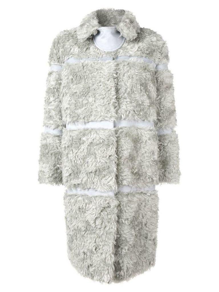 Bottega Veneta faux fur panelled coat - Grey