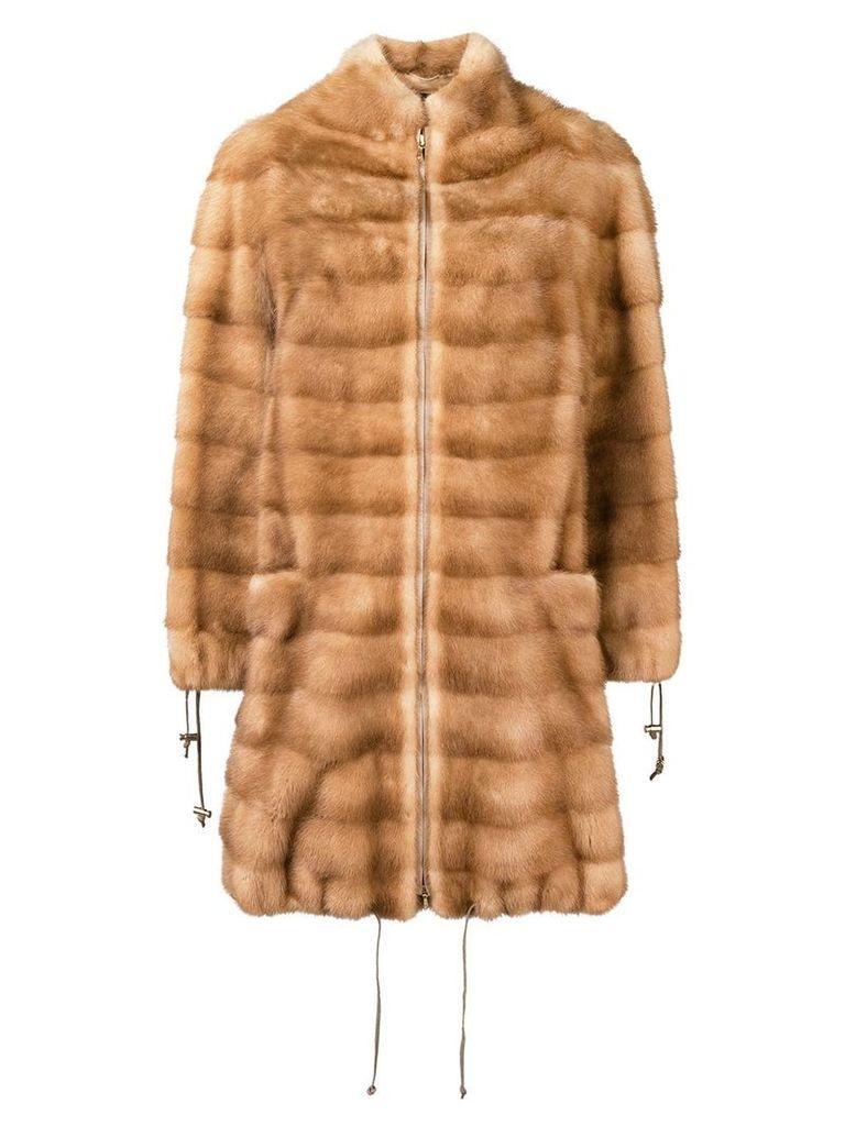 Liska drawstring detail coat - Neutrals