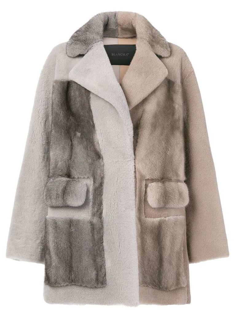 Blancha two-tone mink fur jacket - Neutrals