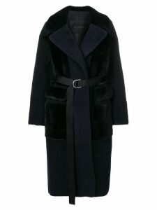 Blancha long oversized shearling coat - Blue