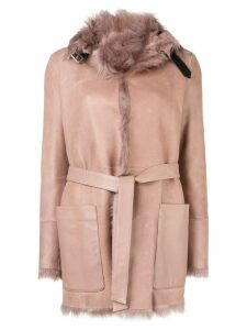 Belstaff fur lined belted coat - Neutrals
