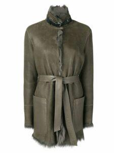 Belstaff fur lined belted coat - Green