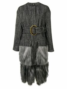 Elisabetta Franchi faux-fur trimmed coat - Black