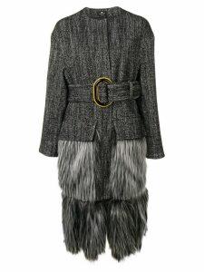 Elisabetta Franchi faux-fur trimmed coat - Black