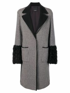 Pinko patchwork wool coat - Black