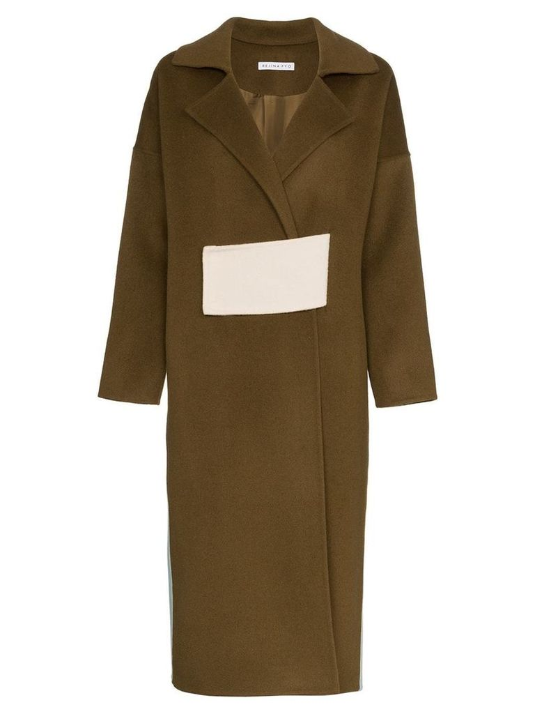 Rejina Pyo Kate Two-Tone Wool Coat - Brown