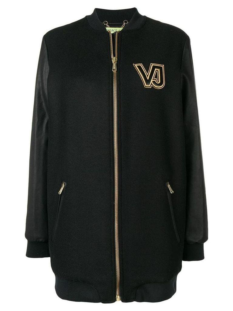 Versace Jeans contrast logo zipped coat - Black