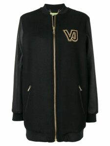 Versace Jeans contrast logo zipped coat - Black