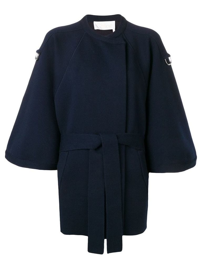 Chloé cropped sleeve baroque intarsia coat - Blue