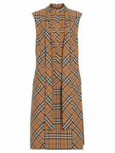 Burberry Vintage Check Cotton Tie-neck Dress - Neutrals