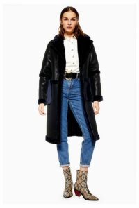 Womens Pu Faux Fur Trim Coat - Black, Black
