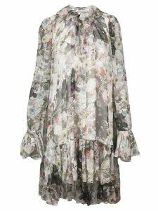 Adam Lippes floral flared midi dress - White