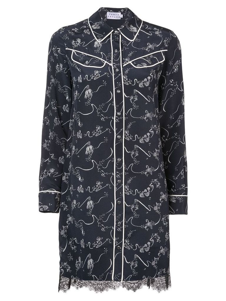 Tanya Taylor embroidered shirt mini dress - Black