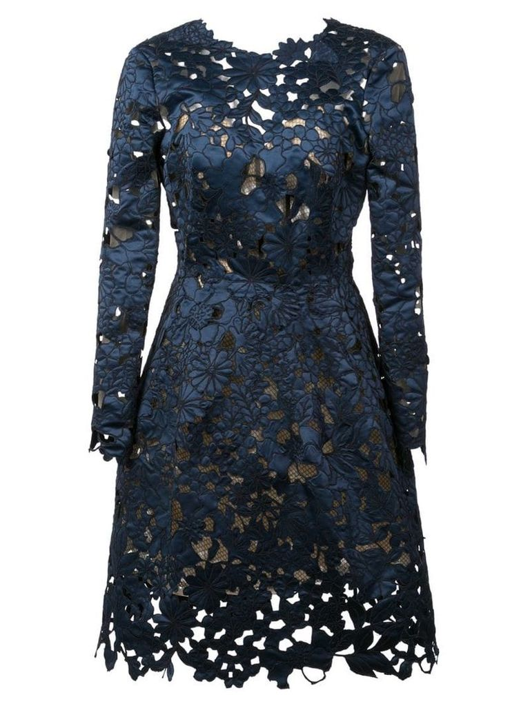 Oscar de la Renta floral lace cocktail dress - Blue